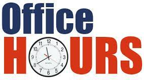 New Office hours begin Monday, May 1, 2017