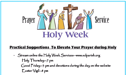 HOLY WEEK STREAMING SCHEDULE